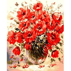 Picture Red Flowers DIY Digital Painting By Numbers Wall Art Picture Hand Painted Acrylic Paint By Numbers For Artwork