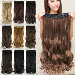 US Stock Women Long Curly Clip in Hair Extensions wig 60CM Hair Extentions