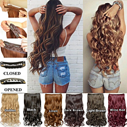"20"" Curly 5 Clip in 3/4 Full Head One Piece Synthetic Hair Extensions"