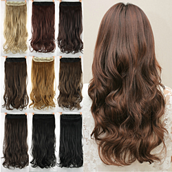 60cm Long Synthetic Hair Clip In Hair Extension Natural Wavy Hair Piece