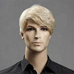 Men Short Wig Light Blonde Synthetic Natural Full Wigs