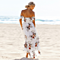 New Summer Women Long Beach Dress Boho Floral Print Sexy Split Off Shoulder Vintage Chiffon Dresses