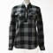 Women's Fashion Plus Size Curved Plaid Print Lace Up Front Blouse Long Sleeve with Pocket Top Blusas