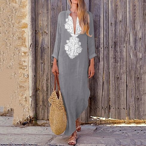 V-Neck Loose Long-Sleeved Cotton And Linen Women Dress