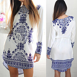 Cotton Long Sleeve Party Dress Evening Cocktail Casual Mini Dress