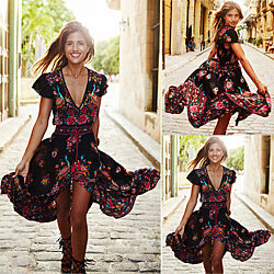 Vintage Boho Long Maxi Evening Party Beach Dress Floral Sundress