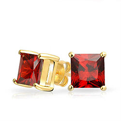 10K Gold Plated 2 Carat Red Ruby Created Stud Earrings