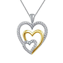 18K Triple Heart Pendant Necklace Silver Gold Triple Heart Necklace