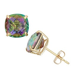 3.50 CTTW Genuine Mystic Topaz Stud Earrings in 18K Gold Plating
