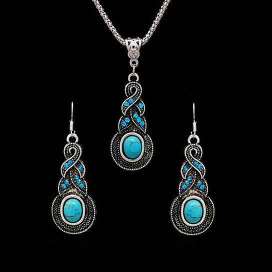 Earrings /& Necklace Turquoise Crystal Jewelry Set