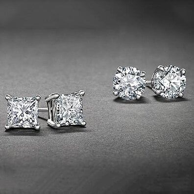 820b55ccd White Gold Plated Stud Earrings Cubic Zirconia Round And Princess Cut 2PC  CZ Earrings Set