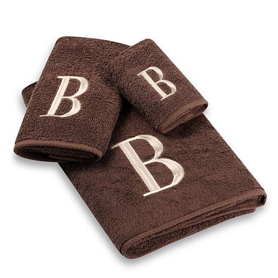 Buy Avanti Brown Ivory Block Monogram 3 Piece Towel Set In