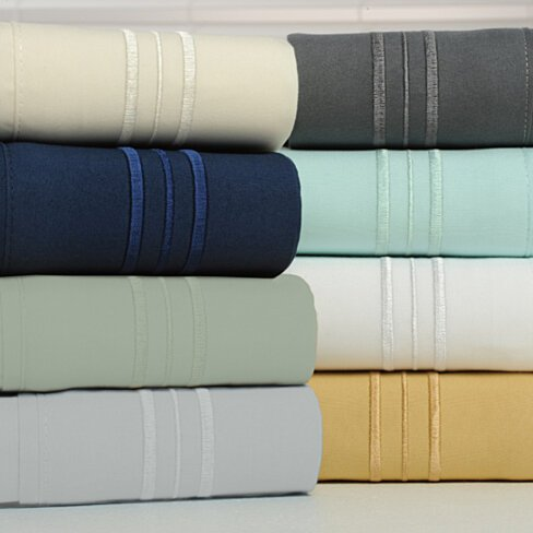 1800 Count Bamboo Egyptian Comfort Ultra Soft 3 Line Embroidered Luxury Sheet Set - 8 Colors
