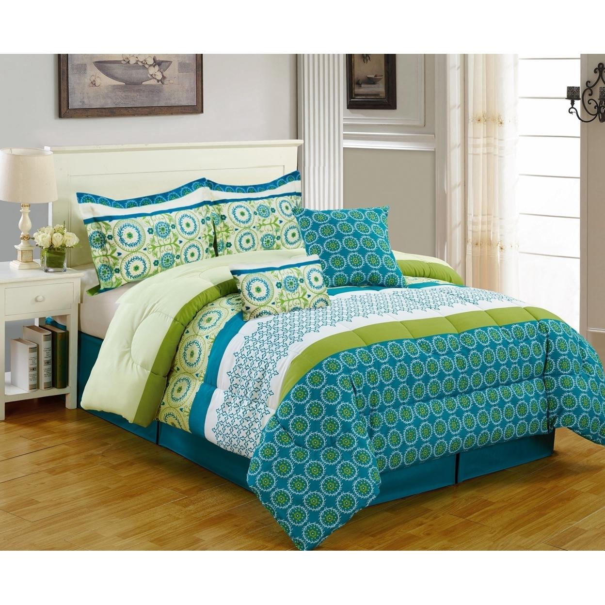 Bibb Home 5 PC Piece Premium Microfiber Comforter Set 3 Designs – Queen and King – Queen, Aqua Green Floral