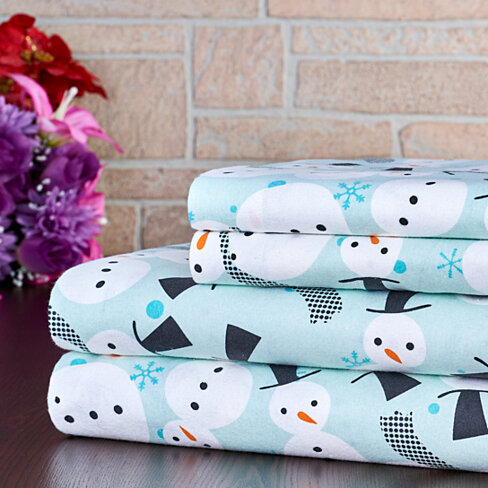 Bibb Home Extra Soft Deep Pocket Printed Flannel Sheet Set - 8 Colors