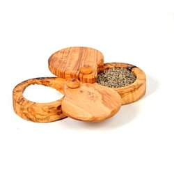 Olive Wood Salt and Pepper Keeper: Dual Kitchen Canister