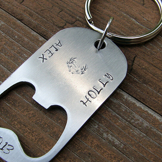 buy stamped couples keyring couples keychain hunting couples deer antlers personalized. Black Bedroom Furniture Sets. Home Design Ideas