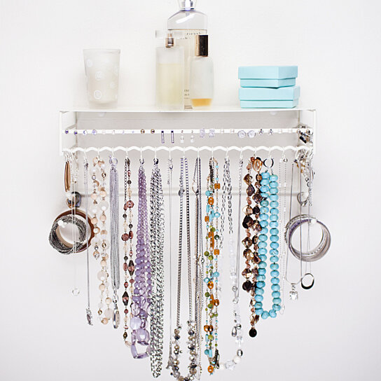 Buy Wall Mounted Jewelry Organizer In White By
