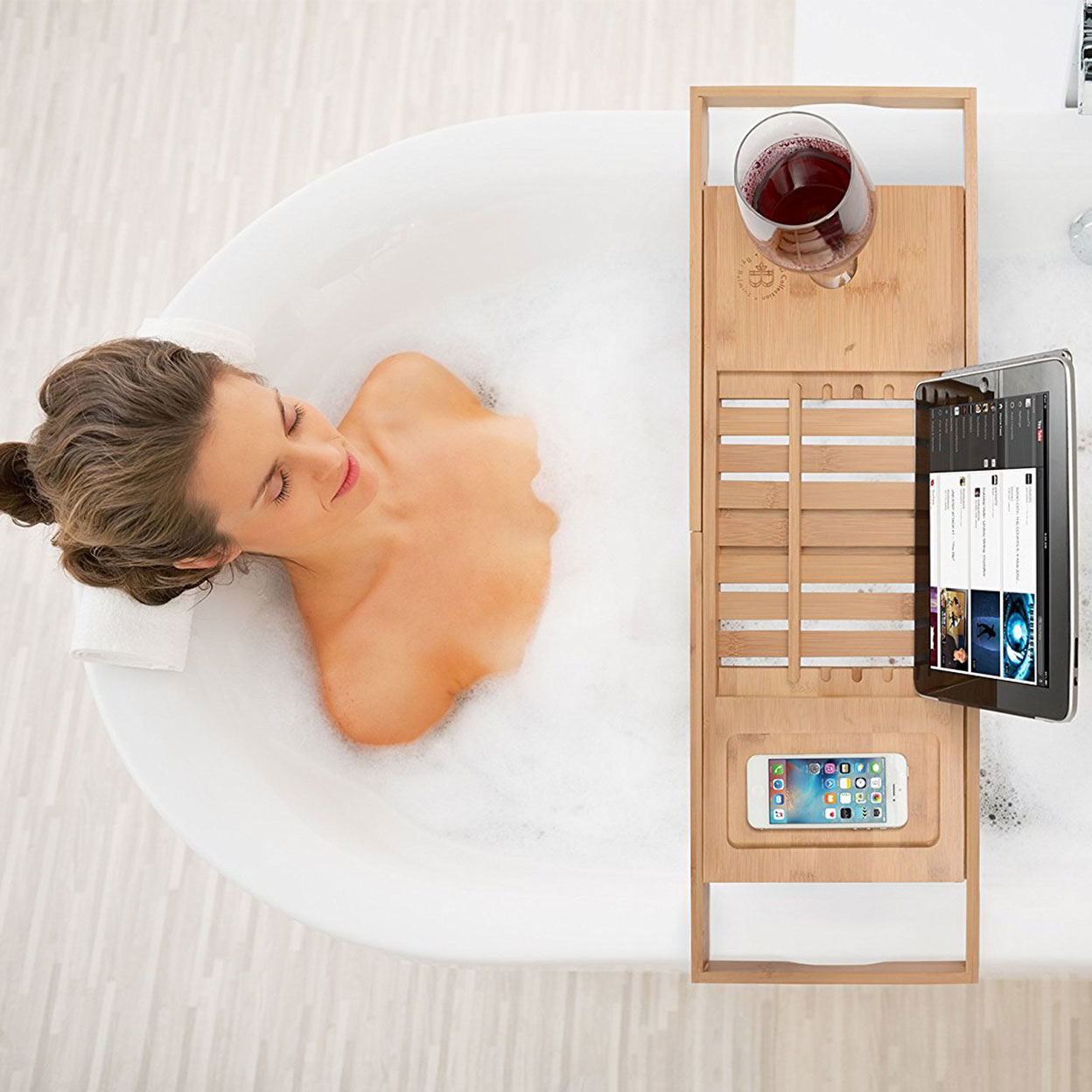 Bambusi By Belmint 100% Bamboo Bathtub Caddy with Extendable Sides, Cellphone Tray & Integrated Wineglass Holder 59b9aaa22a00e46d944912c6