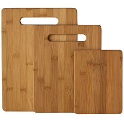 Bamboo Cutting Board 3-Piece Set of 100% Natural Bamboo Cutting Boards By Bambusi