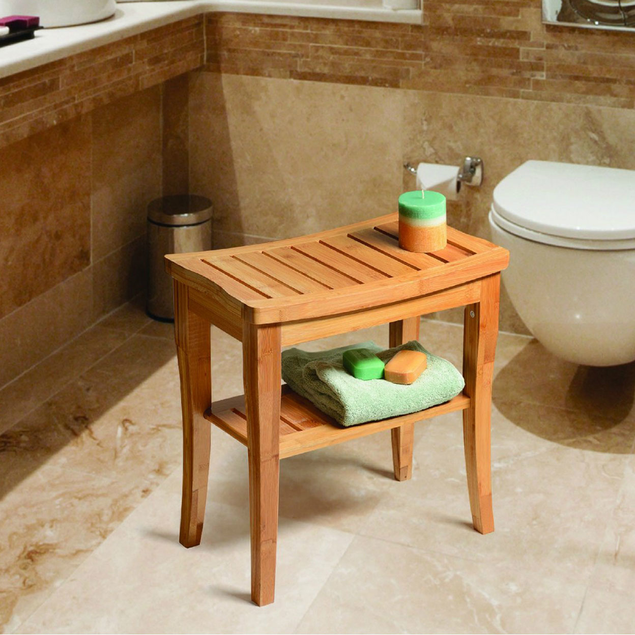 Bamboo Shower Seat Bench with Storage Shelf for Indoor or Outdoor Use By Belmint 59b9aaa22a00e46d8e71d6f8