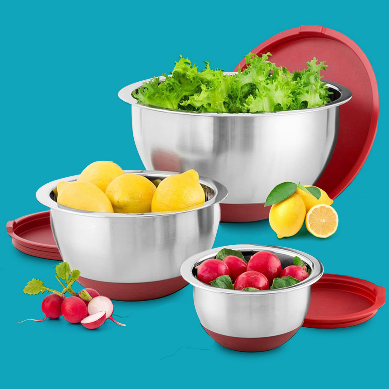Blumwares 3-Piece Stainless Steel Mixing Bowls with Lids & Non-Skid Rubber Grip Bottoms   Set of 3 59b9aaa12a00e46d8e71d6d4