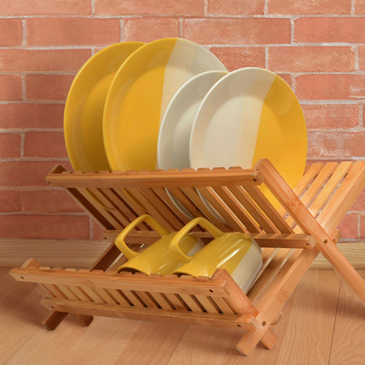 Dish Drying Rack Made Of 100% All Natural Premium Bamboo Folding Dish Drainer, Kitchen Utensil Holder, Designed By: Bambusi 59b9aaa12a00e46d944912ae