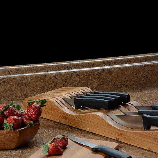 Buy In Drawer Bamboo Knife Block Knife Storage Drawer Organizer