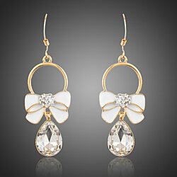 18k Gold Plated Decorative Bow Crystal Waterdrop Earrings