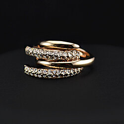 18K Rose Gold Plated Dual Ring Embedded with Swarovski Element Crystals
