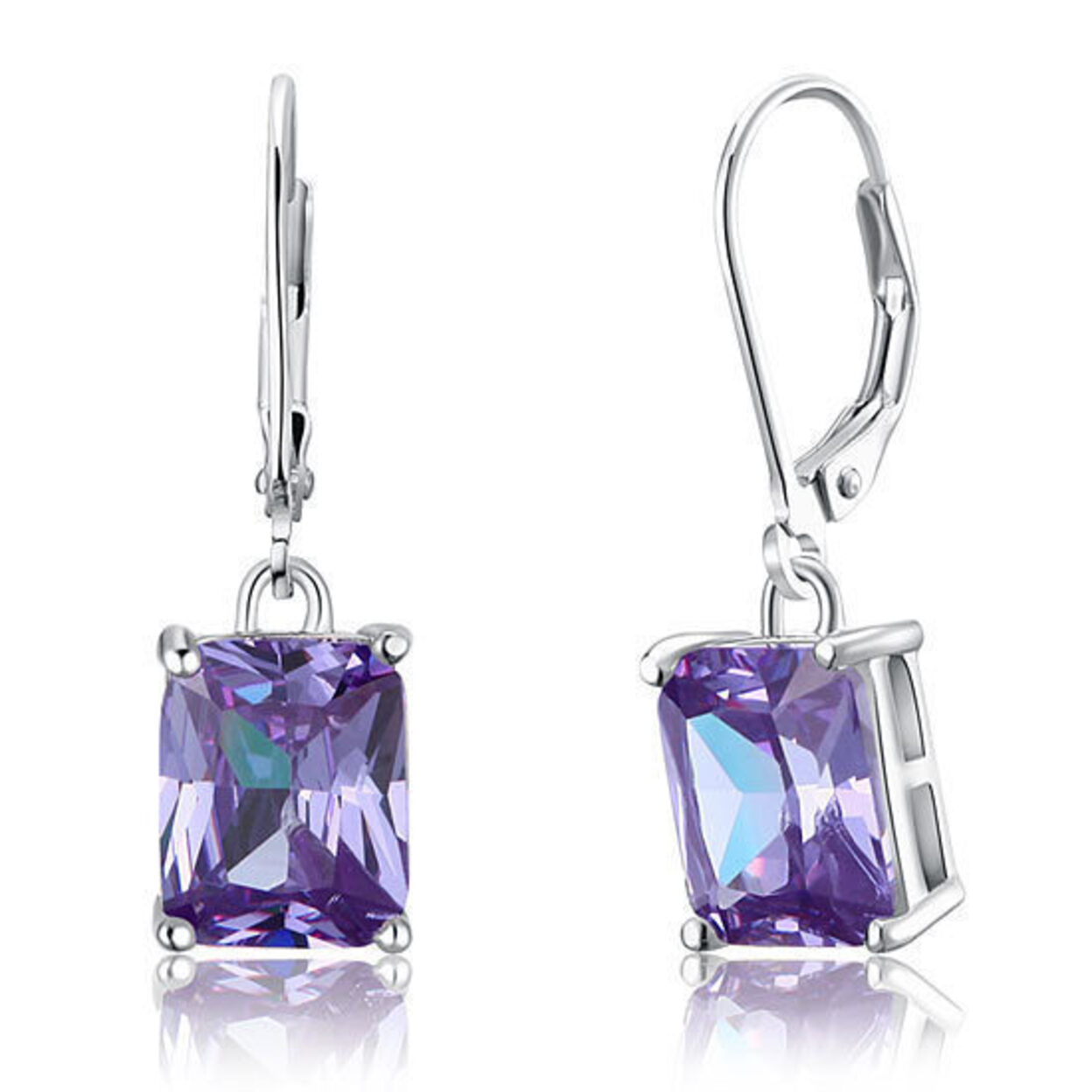 4 Carat 925 Sterling Silver Dangle Purple Earrings