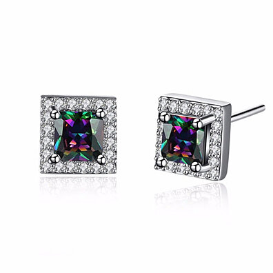 Crystal Studded Genuine Mystic Stone Stud Earrings