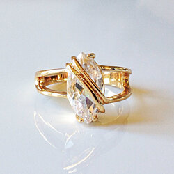 18K Gold Plated Marquise Cut Crystal Ring