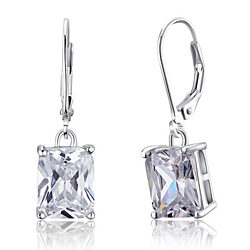 4 Carat Emerald Cut Swarovski Elements Crystal on 925 Sterling Silver Dangle Earrings