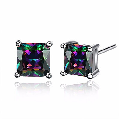 Genuine Mystic Stone Stud Earrings