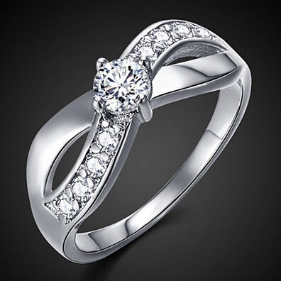 'Infinite Love' White Gold Plated Cubic Zirconia Ring