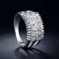 Artisan Simulated Diamond Layered 2 Carat Statement Ring