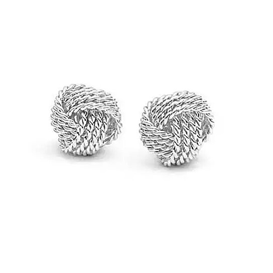 e1b32a020 Trending product! This item has been added to cart 36 times in the last 24  hours. Sterling Silver Mesh 'Love Knot' Earrings