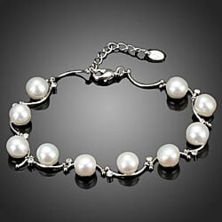 'Pearl Heart' 10 pcs Real Pearl and Swarovski Element Crystals Bracelet