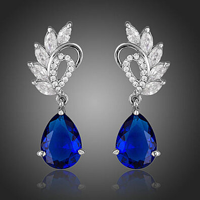 Platinum Plated Angel Wings Swiss Cubic Zirconia Drop Earrings