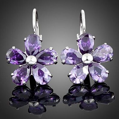 Swarovski Element Platinum Purple Flower Earrings