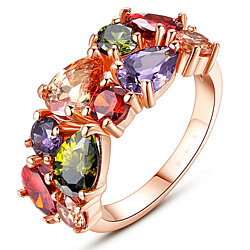 Rainbow Mosaic Rose Gold Ring