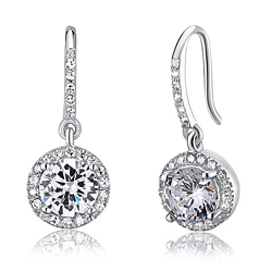 Sterling Silver Swarovski Icicle - 1.5 Carat Round Cut Simulated Diamond  Dangle Earrings