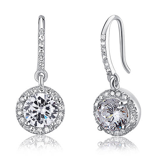 Sterling Silver And Round Cut Swarovski Crystal Drop Earrings By Benedicts On Opensky