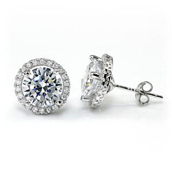 4 Carat Round Cut Halo CZ Stud Earrings