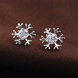 SnowFlake Studs Earrings - Swarovski Element Crystal
