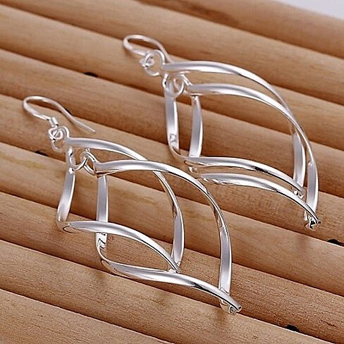 Sterling Silver Interlocking Leaf Spiral Earrings