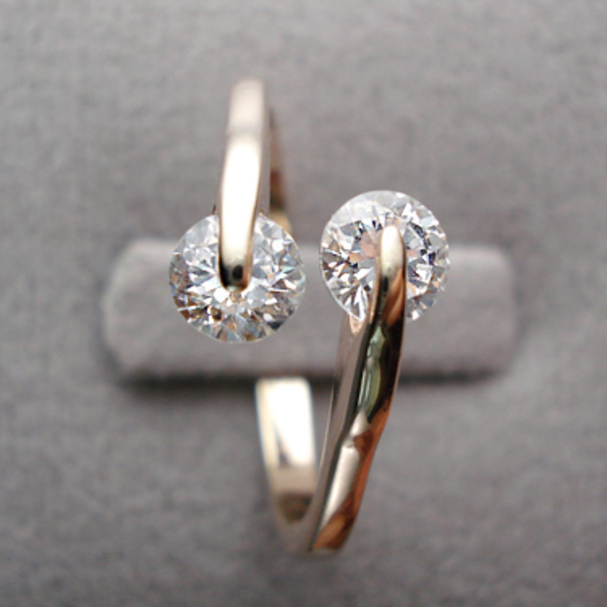 Twin Top18k Gold Plated With Zircon Simulated Diamond Ring 6, Sterling Silver Plated