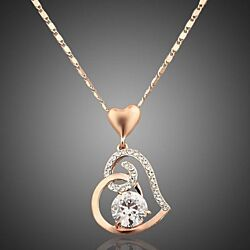 18K Rose Gold Plated Swarovski Elements Heart Pendant Necklace