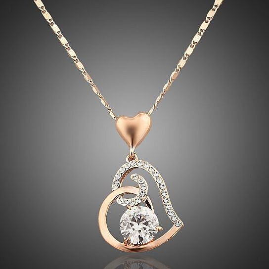 6f617ee48cc34b Trending product! This item has been added to cart 75 times in the last 24  hours. 18K Rose Gold Plated Swarovski Elements Heart Pendant Necklace
